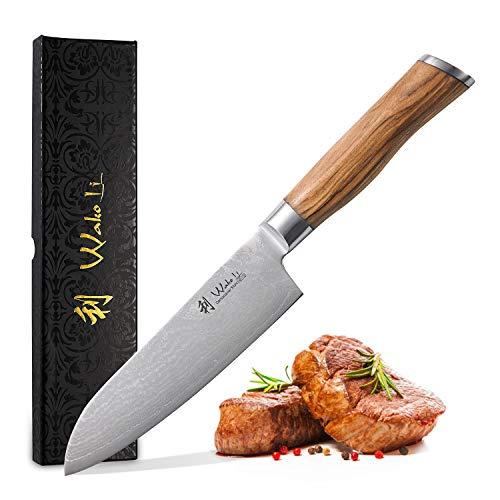Wakoli Olive Damastmesser Santoku Messer 17cm Klinge extrem scharf aus 67 Lagen I Damast Küchenmesser und Profi Kochmesser aus echtem japanischen Damaststahl mit Olivenholz Griff