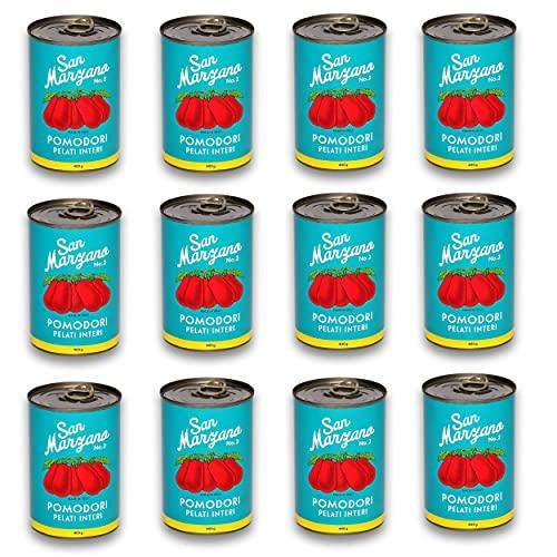 DELICRET - 12x 400g - San Marzano Tomate aus Kampanien'Das rote Gold'   Ganze, geschälte Tomaten im eigenen Saft   +GRATIS DELICRET OMA Rezepte