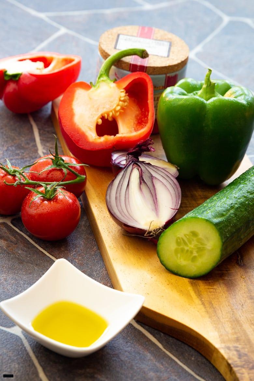 Gemüse für griechischen Bauernsalat