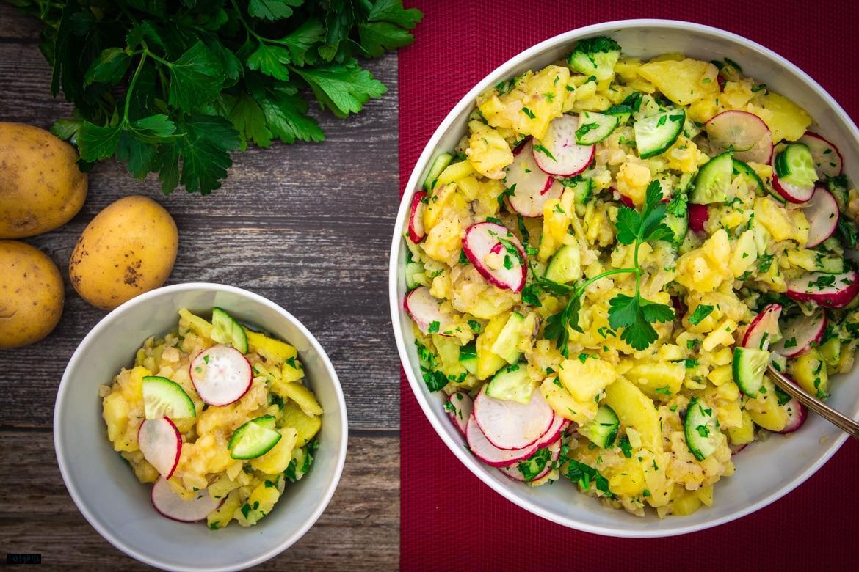 Kartoffelsalat mit Gurke & Radieschen