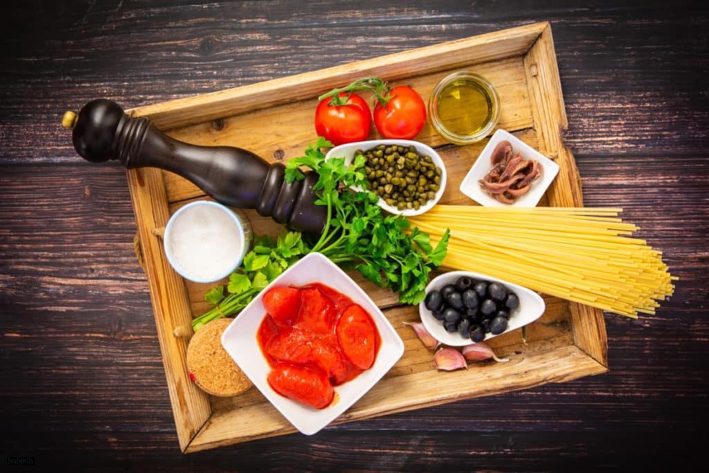 Zutaten für Spaghetti alla puttanesca