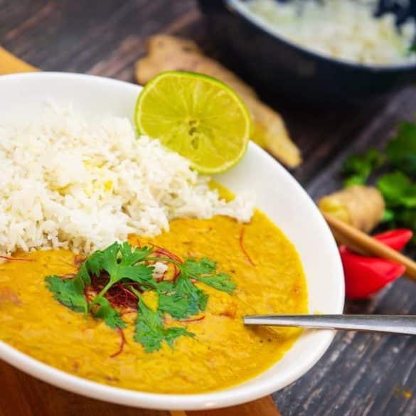 Currylinsen mit Reis
