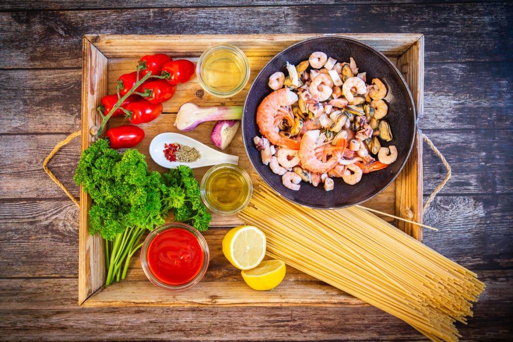 Zutaten für Spaghetti frutti di mare