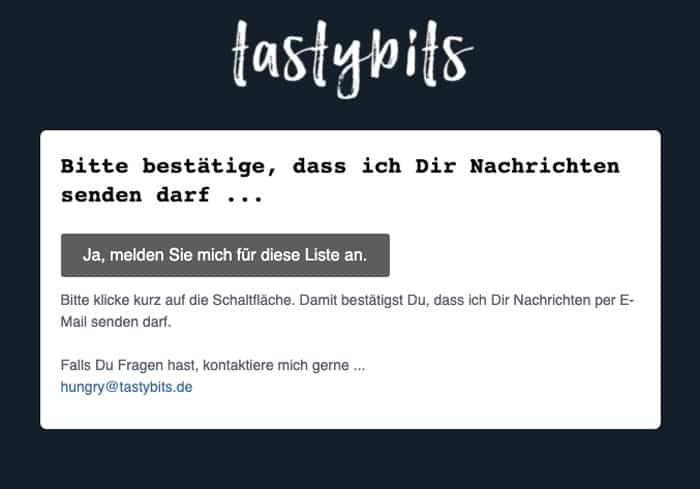 tastybits Newsletter Bestätigung