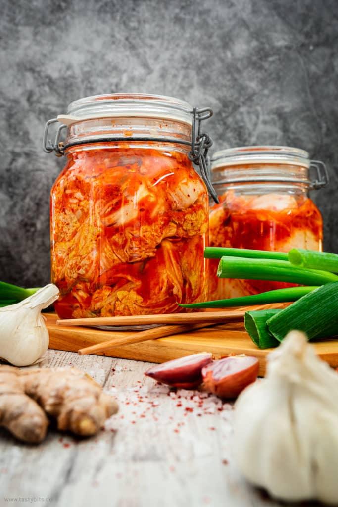 Kimchi in Einmachgläsern