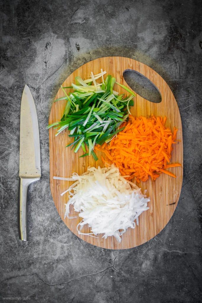 Geschnittenes Gemüse für Kimchi